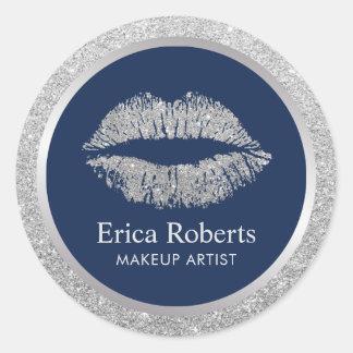 Salon de beauté de lèvres de scintillement sticker rond