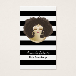 Salon de beauté de noir d'Afro de coiffeur de Cartes De Visite