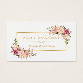 Salon de beauté floral chic de maquilleur de cadre carte de visite standard