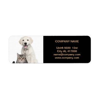Salon de beauté mignon moderne de service d'animal étiquettes d'adresse retour