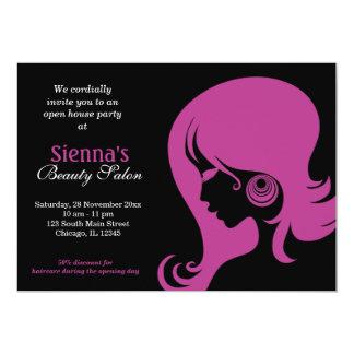 Salon de beauté (prune) carton d'invitation  12,7 cm x 17,78 cm