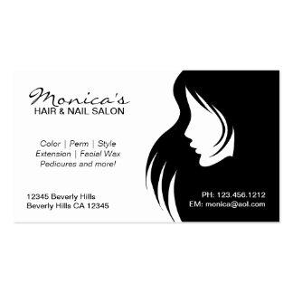Salon de coiffure noir et blanc avec la date de re cartes de visite personnelles