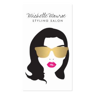 Salon de coiffure, styliste, lèvres de rose de carte de visite standard