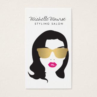 Salon de coiffure, styliste, lèvres de rose de cartes de visite