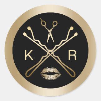 Salon d'initiales de lèvres de ciseaux d'or de sticker rond