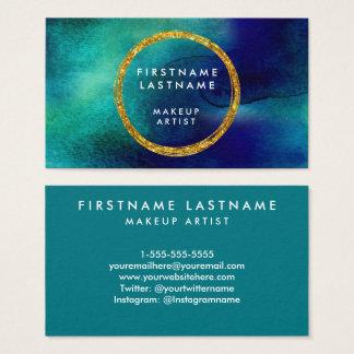 Salon et maquilleur d'aquarelle de bleu et d'or cartes de visite