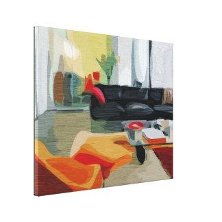 Salon moderne de la moitié du siècle rétro toiles