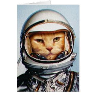 Salutation d'anniversaire de chat de l'espace carte