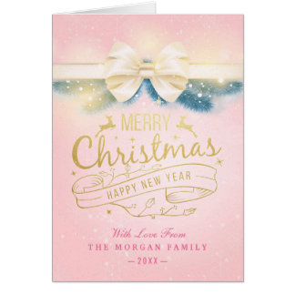 Salutation rose de bonne année de Noël de ruban Carte