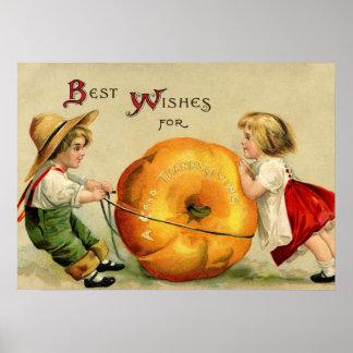 Salutation vintage mignonne de thanksgiving poster