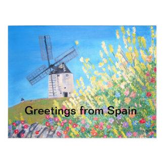 Salutations de carte postale de l'Espagne