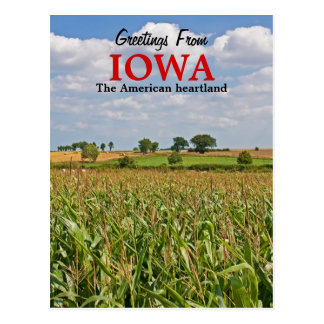 Salutations de carte postale de l'Iowa