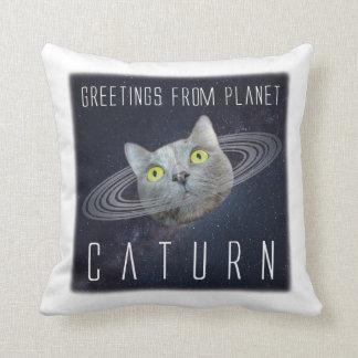 Salutations de coussin drôle de chat de Caturn de
