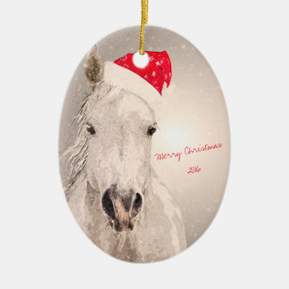 Salutations de vacances de cheval de Noël Ornement Ovale En Céramique