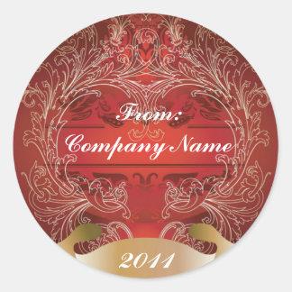 Salutations d'entreprise vintages de rouge et de sticker rond