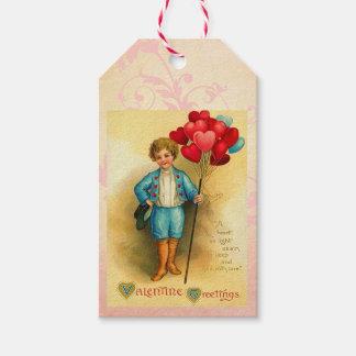 Salutations mignonnes de ballon de Valentine Étiquettes-cadeau