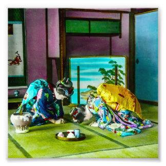 Salutations vintages de geisha au-dessus de thé photos d'art