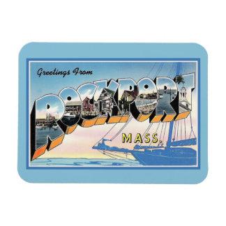 Salutations vintages de Rockport le Massachusetts Magnet Flexible