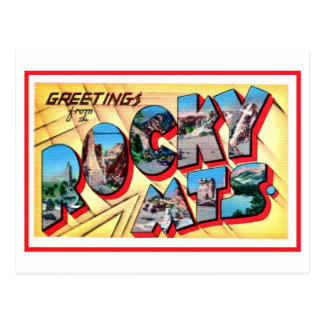 Salutations vintages des montagnes rocheuses carte postale