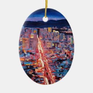 San Francisco - nuit de rue du marché de crête Ornement Ovale En Céramique