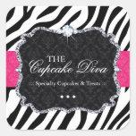 Sassy Gestreepte Cupcake - Verpakkende Stickers