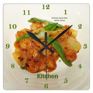 Sauce à huître de pois de neige de crevettes, horloge carrée
