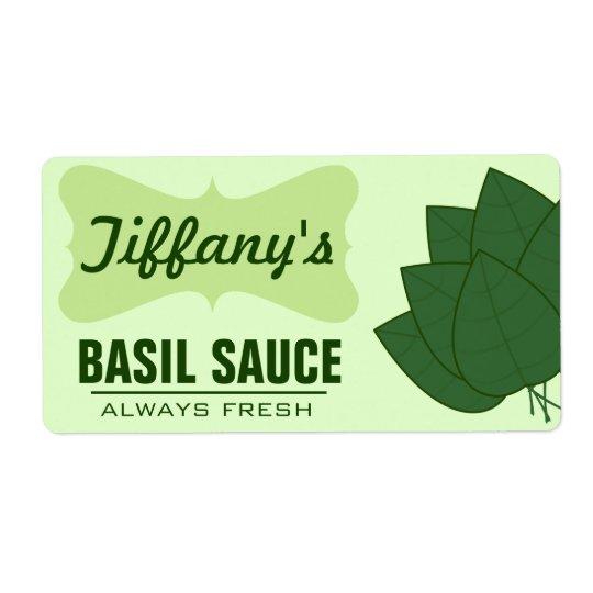 Sauce organique naturelle à Basil Étiquette D'expédition