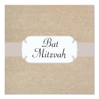 Saumon vintage et bat mitzvah beige de toile de carton d'invitation  13,33 cm