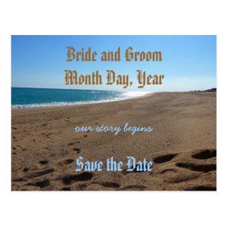Sauvez la carte postale de thème de plage de date