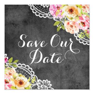 Sauvez la dentelle rustique de roses de mariage de carton d'invitation  13,33 cm