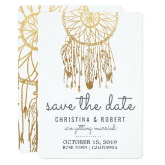 Sauvez la feuille d'or de Bohème de Faux de Carton D'invitation 12,7 Cm X 17,78 Cm