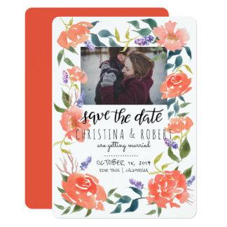 Sauvez la photo florale de couples du rouge | carton d'invitation  12,7 cm x 17,78 cm