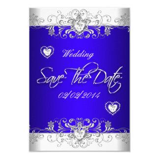 Sauvez le bleu royal de date épousant le diamant carton d'invitation 8,89 cm x 12,70 cm