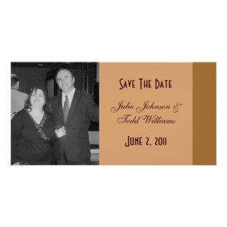 Sauvez le brun simple de date cartes de vœux avec photo