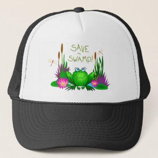 Sauvez le casquette de marais crispé la grenouille