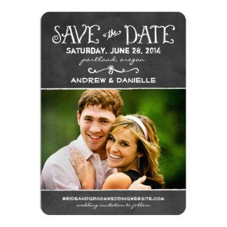 Sauvez le charme noir de tableau de la carte de cartons d'invitation personnalisés