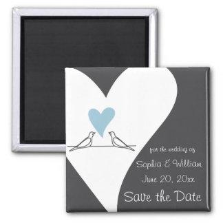 Sauvez le coeur bleu-clair de mariage rustique de magnet carré