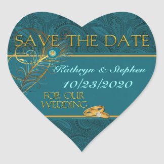 Sauvez le coeur de mariage de paon de date sticker cœur