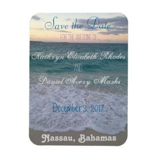 Sauvez le mariage de plage de date magnets rectangulaires