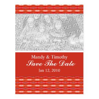 Sauvez le motif rouge de date cartes postales