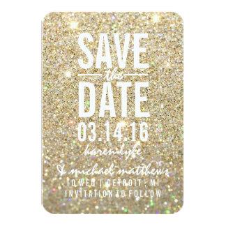 Sauvez le scintillement d'or de la date | ouvrier invitation personnalisable
