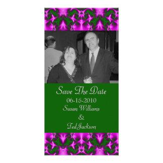 sauvez le vert de rose de date modèle pour photocarte