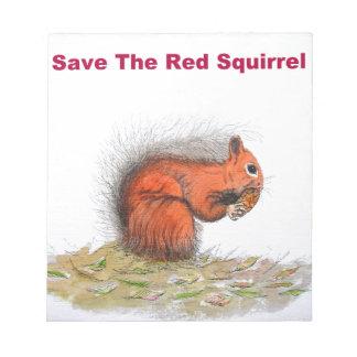 Sauvez l'écureuil rouge bloc-note