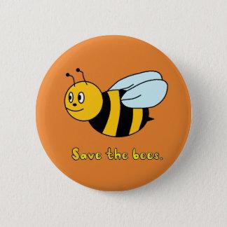 'Sauvez les abeilles Badge Rond 5 Cm