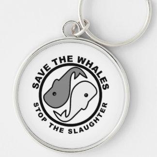 Sauvez les baleines - droits des animaux porte-clé rond argenté