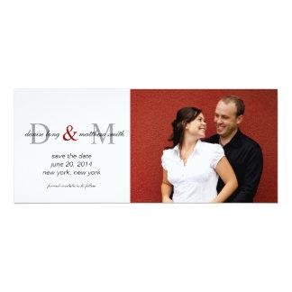 Sauvez les cartes photos de noms de monogrammes de carton d'invitation  10,16 cm x 23,49 cm