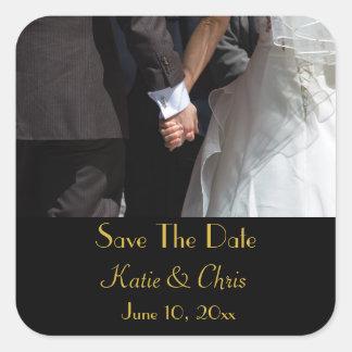 Sauvez les couples élégants de mariage de date sticker carré