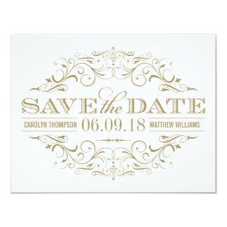 Sauvez les | Flourish antiques d'or et de blanc de Carton D'invitation 10,79 Cm X 13,97 Cm