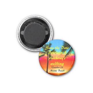 Sauvez les palmiers de mariage de date magnet carré 2,50 cm