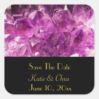 Sauvez l'image de pierre gemme d'améthyste de date sticker carré